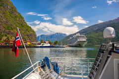 Cruise ship in the port of Flam, Norway. Stock Photo