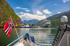 Cruise ship in the port of Flam, Norway. Royalty Free Stock Image
