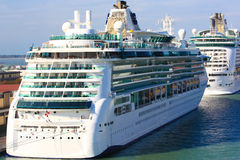 Cruise ship in port. Huge ocean liner docked in port Royalty Free Stock Photography