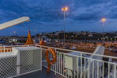 Cruise Ship deck. Cruise Ship in port of Iraklion in Crete  , Greece , Europe. Night photography Royalty Free Stock Image