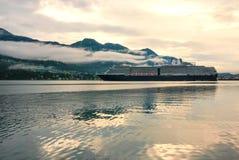 Cruise ship at a port in Juneau, Alaska Royalty Free Stock Photos