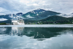 Cruise ship at a port in Juneau, Alaska Royalty Free Stock Images