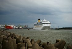 Cruise ship in the port of Klaipeda. A big ship in the harbour stock image