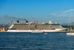 Cruise Ship in the Port of La Spezia - Liguria Italy. Luxury cruise ship in the port of La Spezia. In the background the Apuan Alps Alpi Apuane. Liguria, Italy stock photography