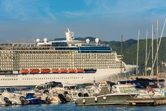Cruise Ship in the Port of La Spezia - Liguria Italy. Luxury cruise ship in the port of La Spezia. In the background the Apuan Alps Alpi Apuane. Liguria, Italy stock photos