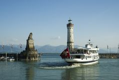 Cruise ship in the port of Lindau Stock Photo