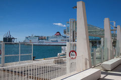 Cruise ship in the port of Malaga,Spain Stock Image