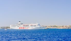 Cruise ship is in port Mandraki. Rhodes Island. Greece Royalty Free Stock Image