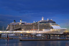 Cruise Ship in port at night Stock Images