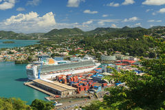 Cruise Ship In Port. P&O cruise ship Ventura docked in Castries, capital of St Lucia. The port offers a sheltered harbour and a preferred destination for cruise Royalty Free Stock Photo