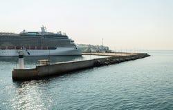 Cruise ship in the port of Piraeus in Greece Stock Photos