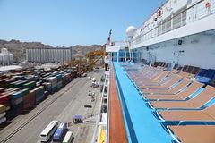 Cruise ship in port in right side of image Royalty Free Stock Photography