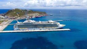 Cruise Ship at Port Saint Martin Island. Beautiful aerial view of cruise ship at the island of Saint Martin in the Caribbean Stock Image