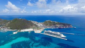 Cruise Ship at Port Saint Martin Island. Beautiful aerial view of cruise ship at the island of Saint Martin in the Caribbean Royalty Free Stock Photos