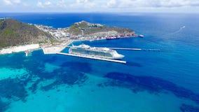 Cruise Ship at Port Saint Martin Island. Beautiful aerial view of cruise ship at the island of Saint Martin in the Caribbean Stock Photography