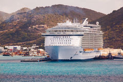 Cruise Ship in Port at St. Maarten Stock Images
