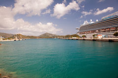 Cruise Ship in Port at St. Thomas Royalty Free Stock Images