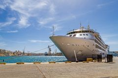 Cruise ship at port of Valletta, Malta Stock Photo