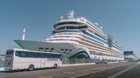 Cruise ship in the port. Waiting for passengers Royalty Free Stock Images