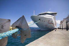 Cruise ship in port, wide angle view Royalty Free Stock Photography