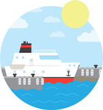 Cruise ship in the port. Yacht on water. Vector illustration of round background Stock Photography