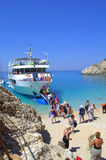 Cruise ship at Porto Katsiki beach,Greece Stock Photo