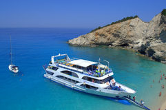 Cruise ship at Porto Katsiki beach,Greece Stock Images