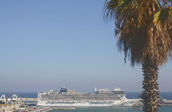 Cruise Ship Puerto de Barcelona, Spain Royalty Free Stock Images