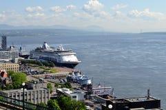 Cruise ship in Quebec City, Quebec. Cruise ship docked at terminal located in Quebec City, Quebec Stock Photography