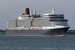 Cruise ship Queen Elizabeth on Southampton Water UK. Southhampton Water southern England UK. August 2017. Cruise ship Queen Elizabeth underway having departed stock photography