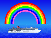 Cruise ship with rainbow Royalty Free Stock Photography