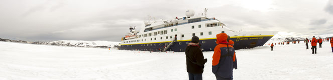 Cruise ship ramming fast ice, Antarctica