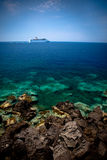 Cruise Ship in Reef. Cruise Ship in Ocean Beyond Reef royalty free stock photography