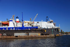 Cruise ship repair Stock Images