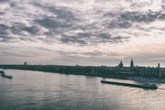 Cruise ship on the Rhine river in Mainz, Germany on a summer evening. stock image