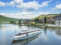 Cruise ship on river Moselle near city Traben-Trarbach. Germany Stock Photos