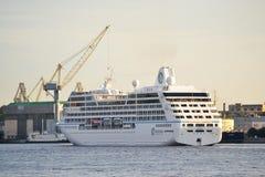 Cruise ship. River Neva, St.Petersburg, Russia Royalty Free Stock Photos