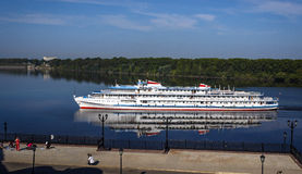 The cruise ship on the river. The tourist cruise ship on the river Stock Photo