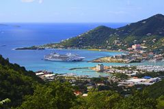 Cruise ship in Roadtown, Tortola. Panorama of Roadtown and a cruise ship in port, Tortola, BVI Royalty Free Stock Photo