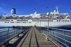 Cruise ship in Roseau, Dominica stock images