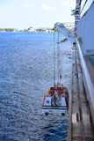 Cruise ships tender winched down to the seas Royalty Free Stock Images