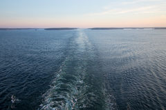 Cruise ship`s wake. Stock Photos