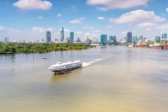 Cruise ship on the Saigon River. HOCHIMINH CITY- VIETNAM: Hydrofoil as cruise ship running on the Saigon River in Hochiminh city, Vietnam royalty free stock images