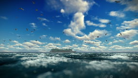 Cruise ship sailing against beautiful timelapse clouds, seagulls flying, sound included. Hd video stock video