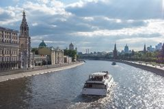 Cruise Ship is sailing along the Moskva River, Moscow. Russia royalty free stock photography