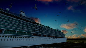 Cruise ship sailing away and seagulls at sunset, tilt, with sound stock footage