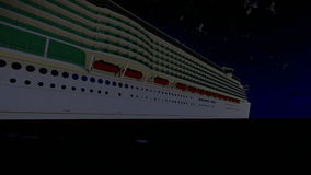 Cruise ship sailing, full moon and seagulls, sound included. Hd video stock footage