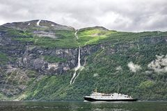 Geiranger at the end of the Sunnylvsfjorden, Norway Stock Images