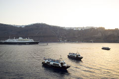 Cruise Ship Sailing from Port. The passenger tourist steam boat on the sea, Greece Stock Images