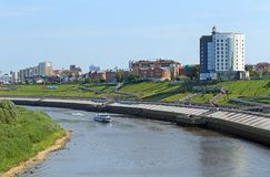 Cruise ship sailing on the river in Tyumen stock photography